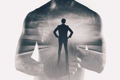 Power and determination of a fighter businessman. Double exposure. Photo royalty free stock images