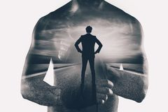 Power and determination of a fighter businessman. Double exposure. Photo stock illustration