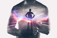 Power and determination of a fighter businessman. Double exposure. Photo royalty free stock image