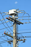 Power distribution. Power pole in sunny summer day, Auckland, New Zealand Stock Images