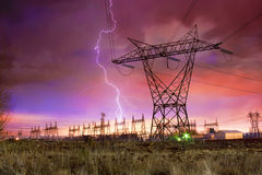 Power Distribution Station with Lightning Strike. Stock Images