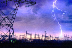 Power Distribution Station with Lightning Strike. Stock Image