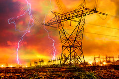 Free Power Distribution Station With Lightning Strike. Royalty Free Stock Photography - 19039497