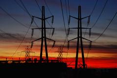 Power Distribution at Sunset. Electric power station and lines in southern California royalty free stock photos