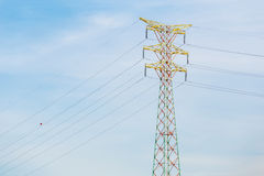 Power distribution tower cable Stock Photo