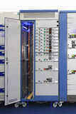 Power distribution unit. Power distribution board current breakers with overcurrent protection Stock Photos