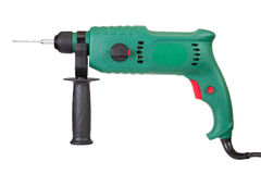 Power drill. Green power drill, isolated on white Stock Photography