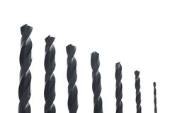 Power drill bits in a row Stock Photos