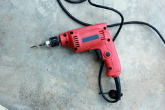 Power drill with large bit Stock Photos