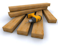 Power drill and wood Royalty Free Stock Images