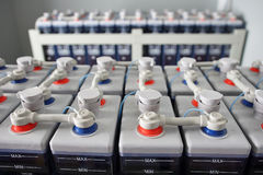 Power electric DC battery accumulators. Stock Photo