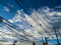 Power electric line on blue sky Stock Image