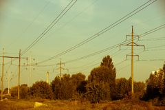 Power electric line and transmission tower. Electrical lines . power electric line and transmission tower royalty free stock photography