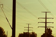 Power electric line and transmission tower. Electrical lines . power electric line and transmission tower royalty free stock image