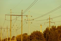 Power electric line and transmission tower. Electrical lines . power electric line and transmission tower stock image