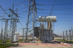 Power electrical substation with high voltage equipments. Electric high voltage station. Power lines and transformer stock images