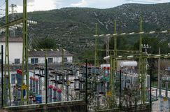 Power electrical substation yard near Barcelona, in park Garraf. Spain Stock Photography