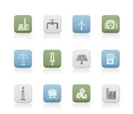Power and electricity industry icons Stock Photography