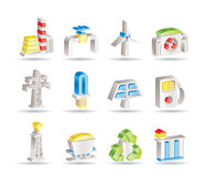 Power and electricity industry icons Stock Images