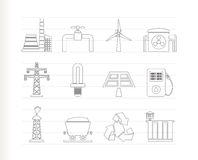 Power and electricity industry icons Stock Photo