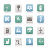 Power and electricity industry icons Stock Image