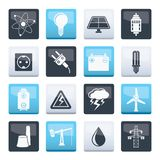 Power and electricity industry icons over color background. Vector icon set royalty free illustration