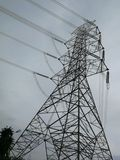 Electricity tower in the field at the local place royalty free stock photography