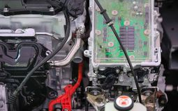 Power electronics control in Engine hybrid car. Power electronics controller in Engine hybrid car stock images