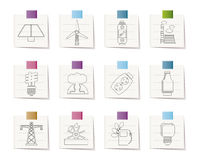 Power, energy and electricity icons Royalty Free Stock Photos