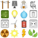 Power, Energy and Electricity Icons - Illustration Stock Photos