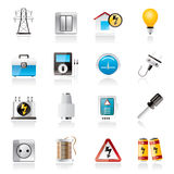 Power, energy and electricity icons Royalty Free Stock Images