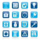 Power, energy and electricity icons Royalty Free Stock Image