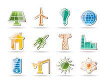 Power, energy and electricity objects royalty free illustration