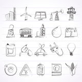 Power, energy and electricity Source icons Royalty Free Stock Photo