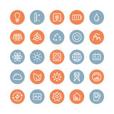 Power and energy flat icons set Stock Photos