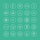 Power and energy flat line icons. Flat thin line icons modern design style vector set of power and energy symbol, natural renewable energy technologies such as Royalty Free Stock Image