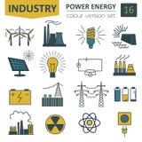 Power energy icon set. Colour version design. Vector illustration Stock Photo