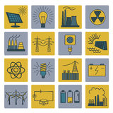 Power energy icon set. Colour version design. Vector illustration Stock Photos