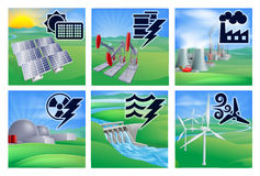 Power and Energy Icons. Different types of power or energy generation with icons. Photovoltaic cells solar renewable, oil well pumpjacks, fossil fuel power plant Stock Photo