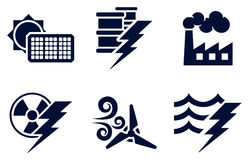 Power and Energy Icons. An icon set with six icons representing power and energy generation types. Solar, fossil fuel, nuclear, wind, hydro or water plus oil Royalty Free Stock Photos