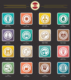 Power and Energy icons,retro version. Set of Power and Energy icons,retro version Royalty Free Stock Photo