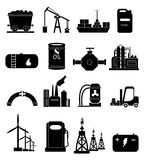 Power Energy icons set. In black Royalty Free Stock Images