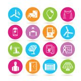 Power and energy icons. Set of 16 power and energy icons in colorful buttons Stock Photos