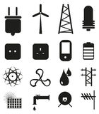 Power And Energy Icons Set. Vector illustration of  power and energy black icons set on a white background Stock Image
