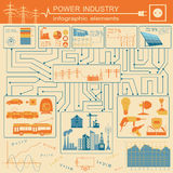 Power energy industry infographic, electric systems, set element Stock Photography