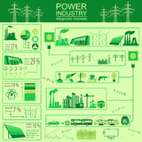 Power energy industry infographic, electric systems, set element Stock Photos