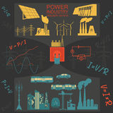 Power energy industry infographic, electric systems, set element Stock Images