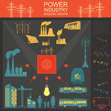 Power energy industry infographic, electric systems, set element Royalty Free Stock Photography