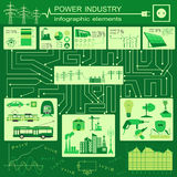 Power energy industry infographic, electric systems, set element Stock Image
