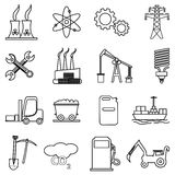Power and energy line icons set. In black Stock Photo